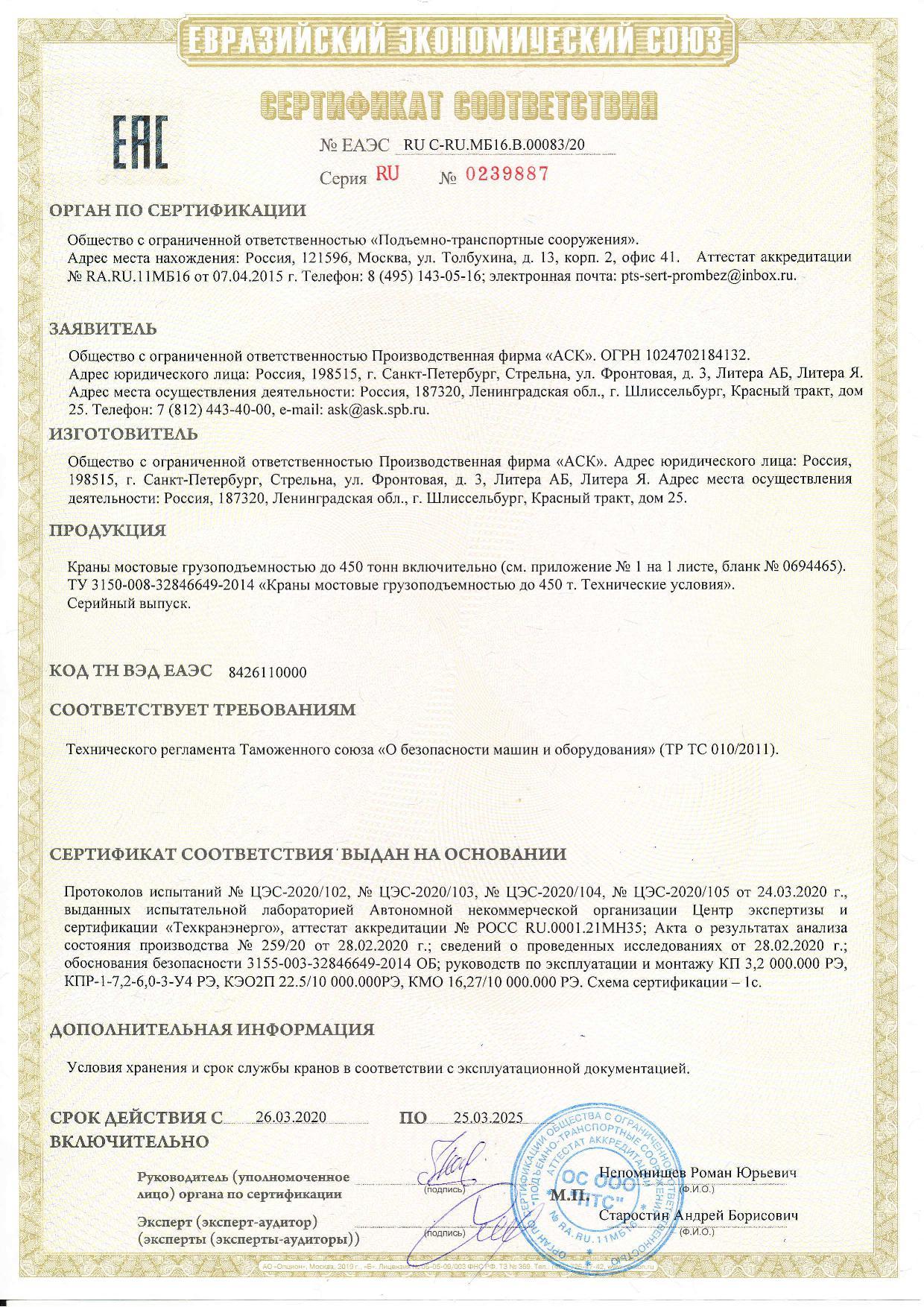 Сертификация работ по ремонту кранов сертификация соответствия гост